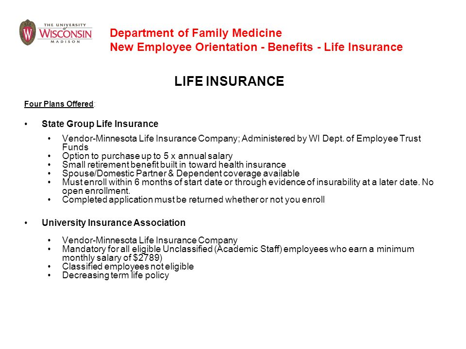 LIFE INSURANCE Department of Family Medicine
