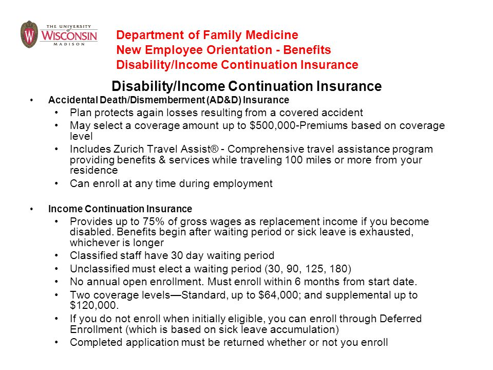 Disability/Income Continuation Insurance