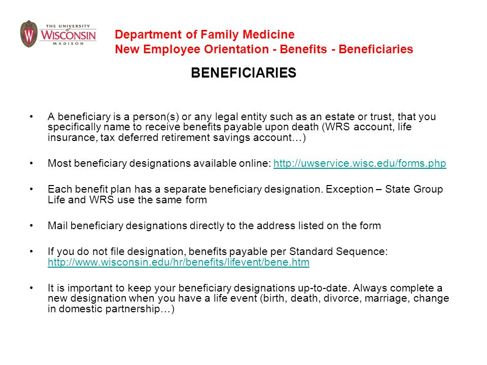 BENEFICIARIES Department of Family Medicine