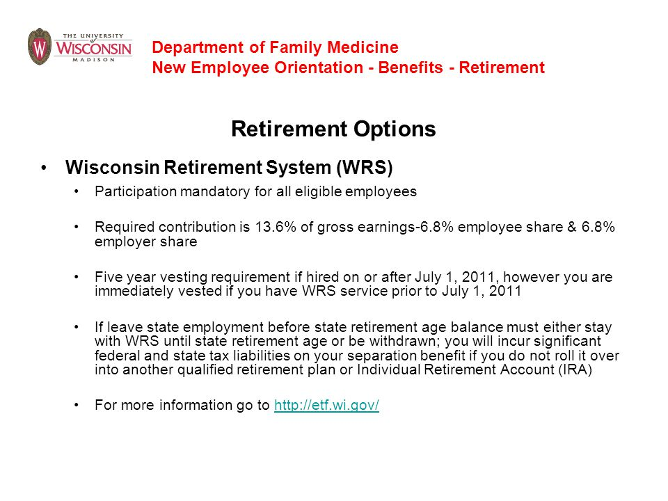 Retirement Options Wisconsin Retirement System (WRS)
