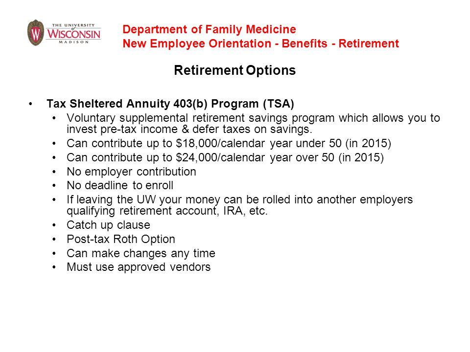 Retirement Options Department of Family Medicine