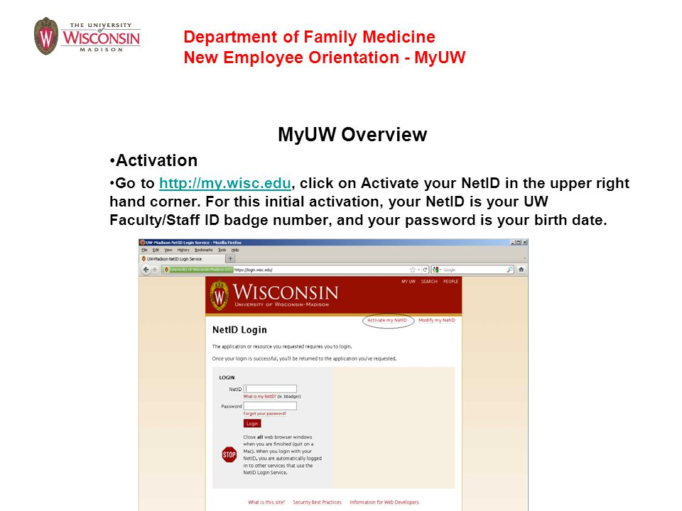 MyUW Overview Department of Family Medicine