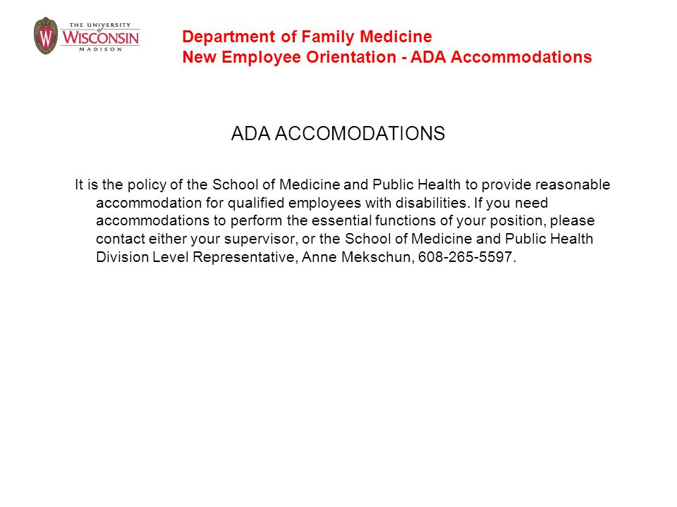 ADA ACCOMODATIONS Department of Family Medicine