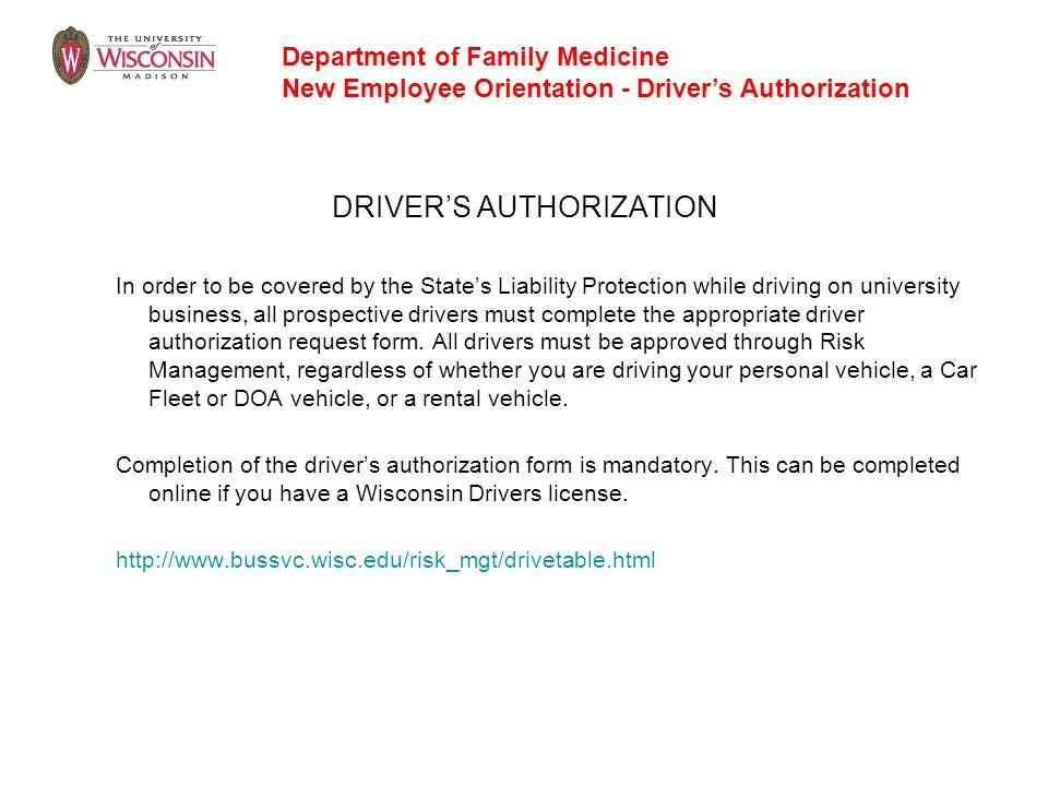 DRIVER'S AUTHORIZATION