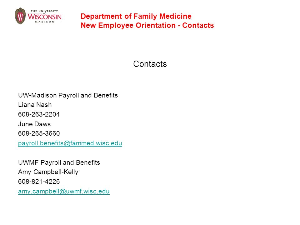 Contacts Department of Family Medicine