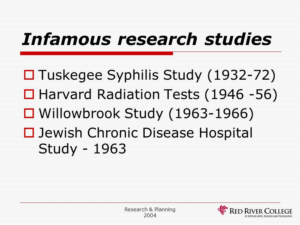 Infamous research studies