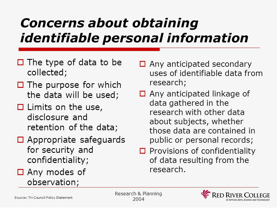 Concerns about obtaining identifiable personal information