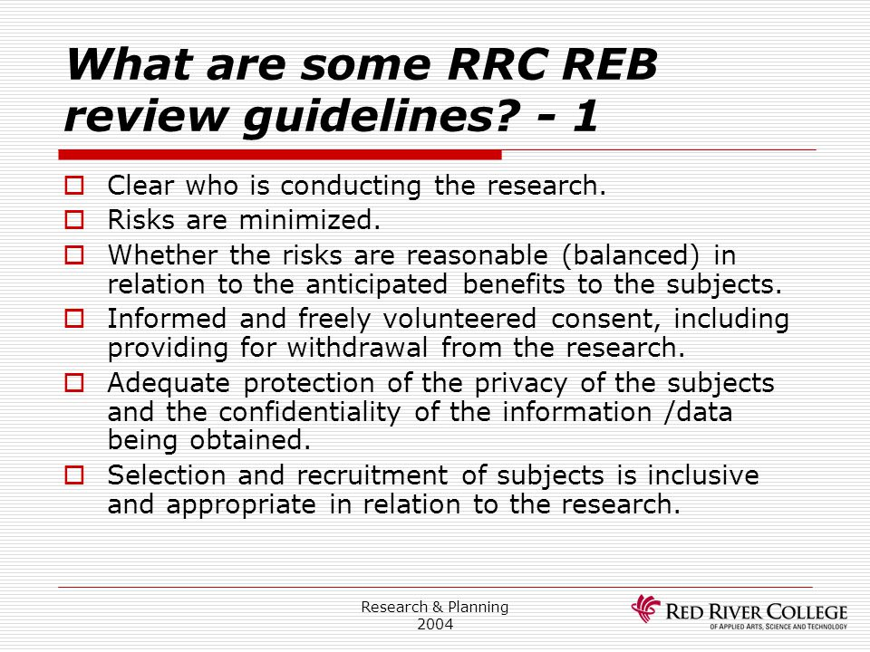 What are some RRC REB review guidelines - 1