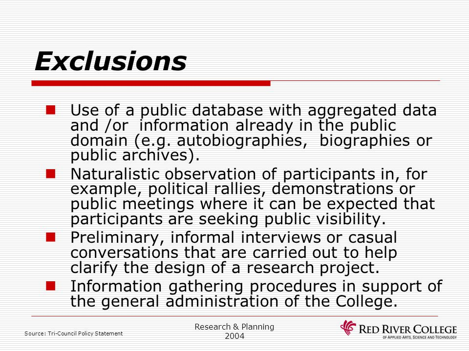 Research Ethics Board 4/13/2017. Exclusions.