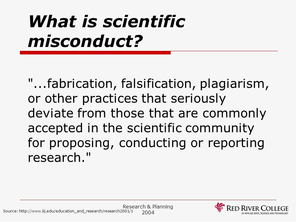 What is scientific misconduct