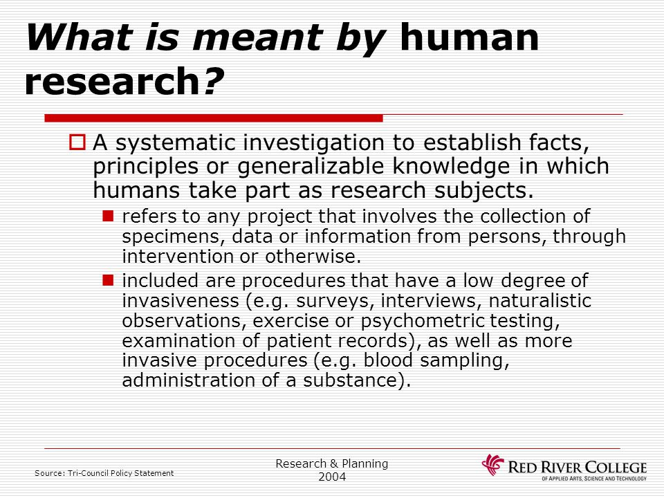 What is meant by human research