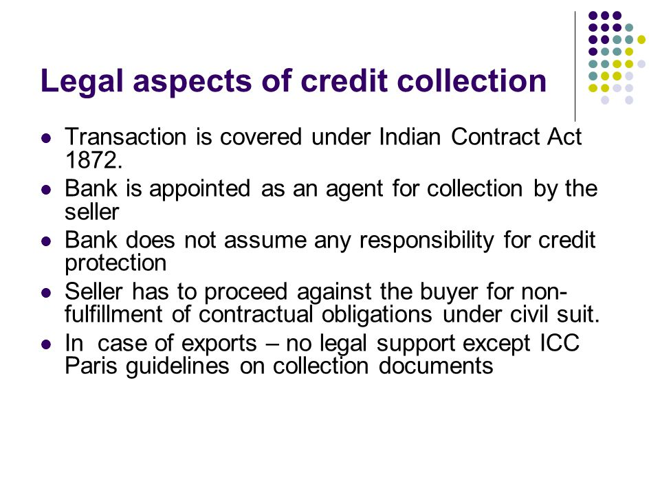 Legal aspects of credit collection