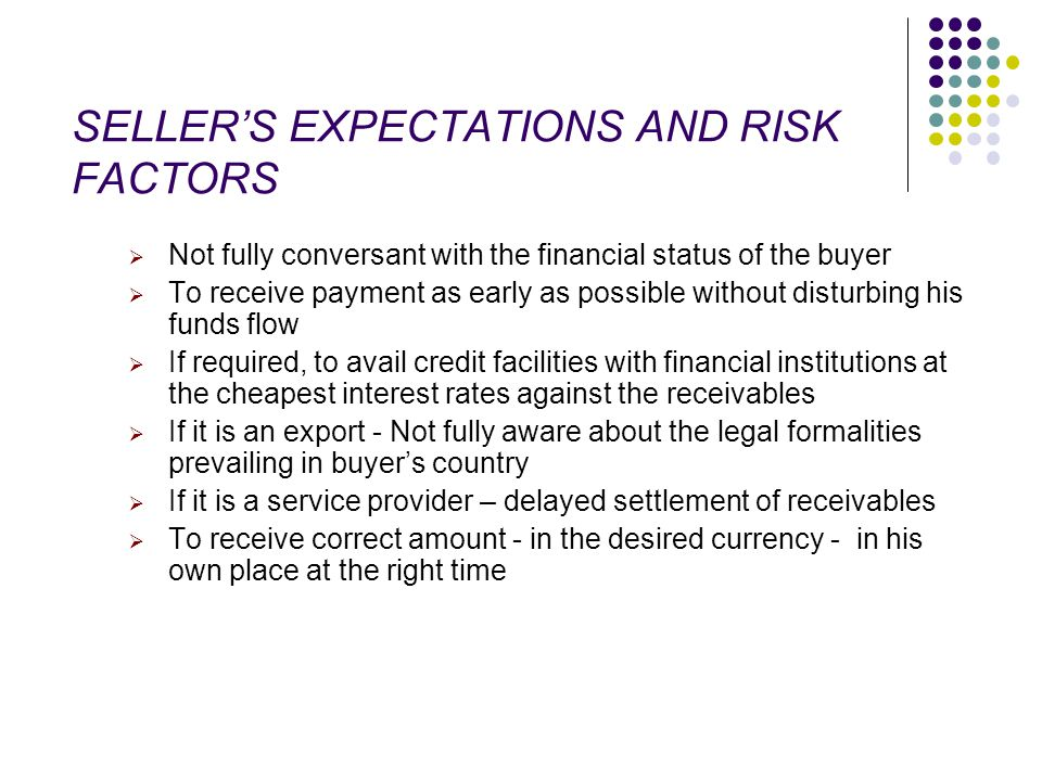 SELLER'S EXPECTATIONS AND RISK FACTORS