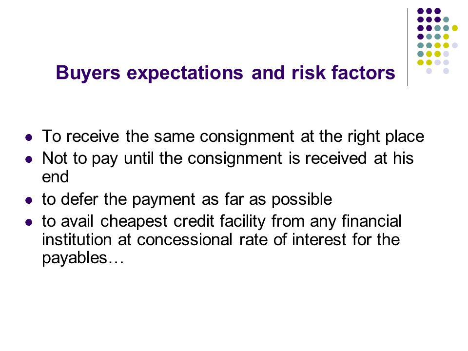 Buyers expectations and risk factors
