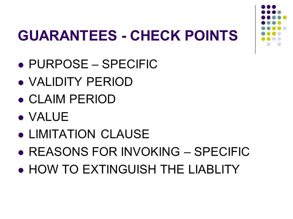 GUARANTEES - CHECK POINTS