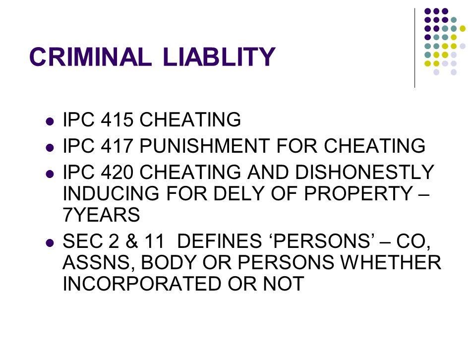 CRIMINAL LIABLITY IPC 415 CHEATING IPC 417 PUNISHMENT FOR CHEATING