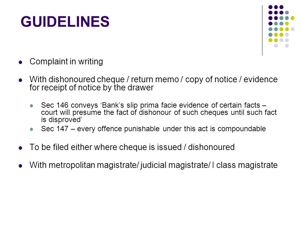 GUIDELINES Complaint in writing