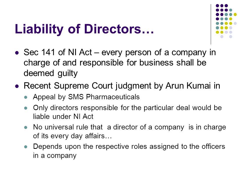 Liability of Directors…