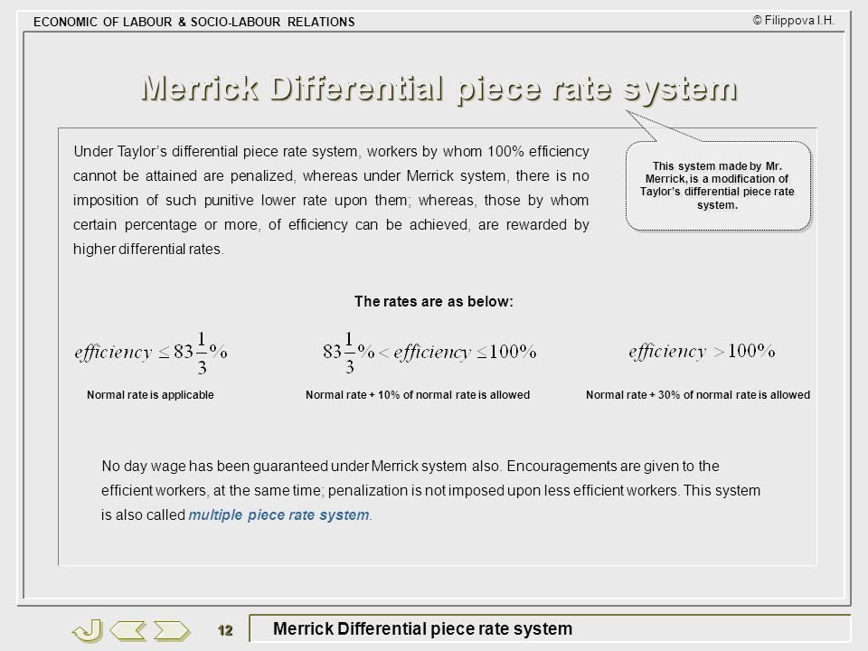 Merrick Differential piece rate system