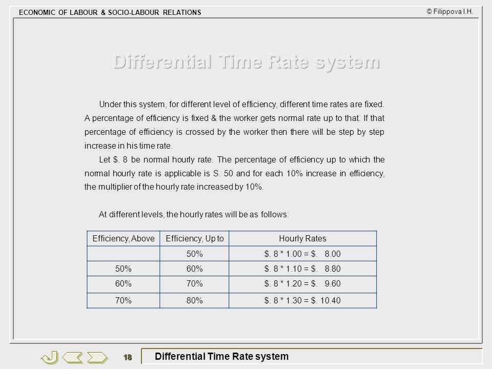 Differential Time Rate system