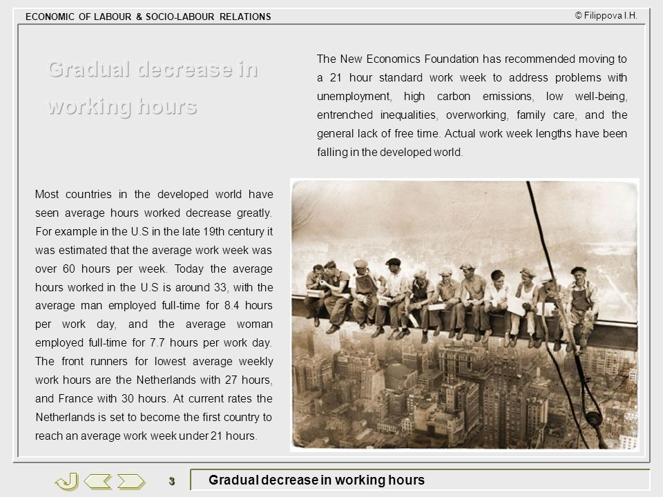 Gradual decrease in working hours