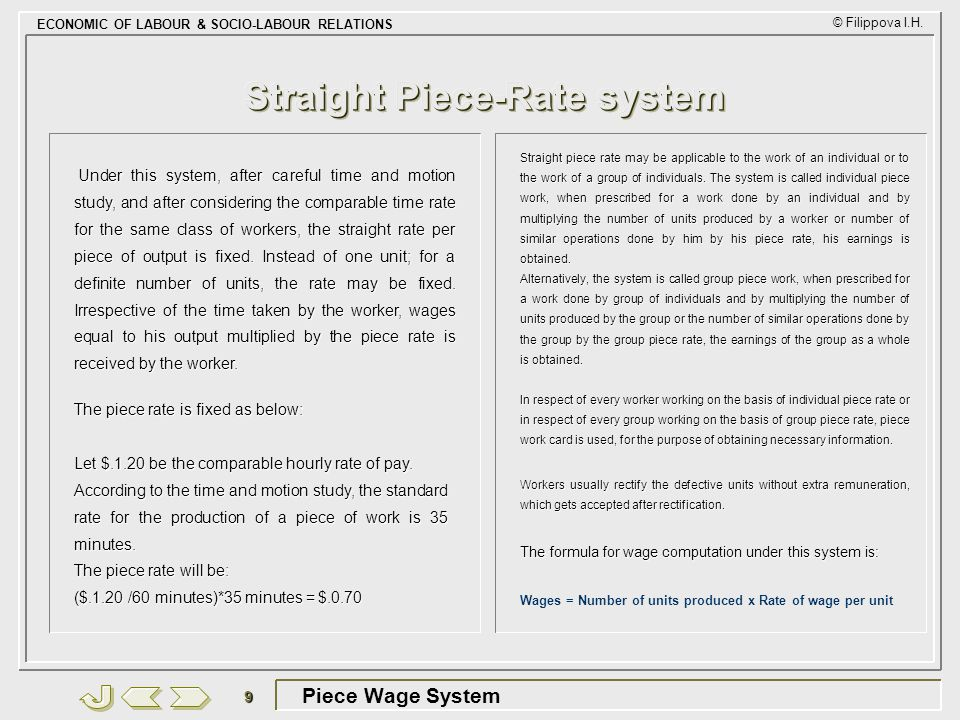 Straight Piece-Rate system
