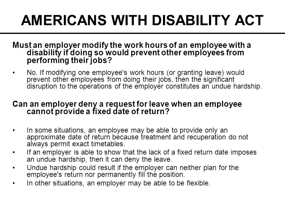 AMERICANS WITH DISABILITY ACT