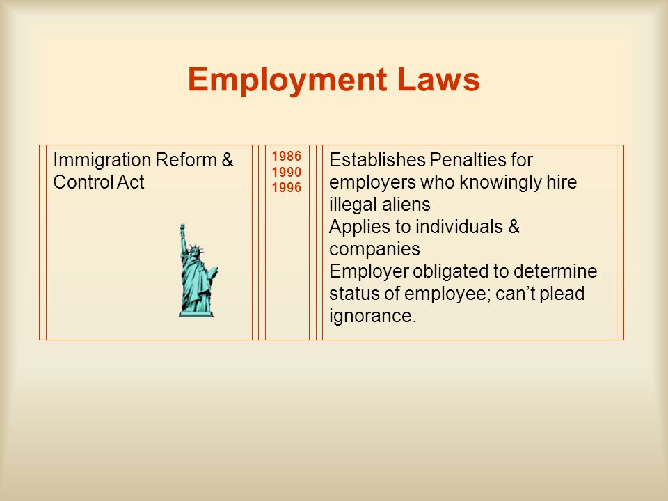 Employment Laws Immigration Reform & Control Act