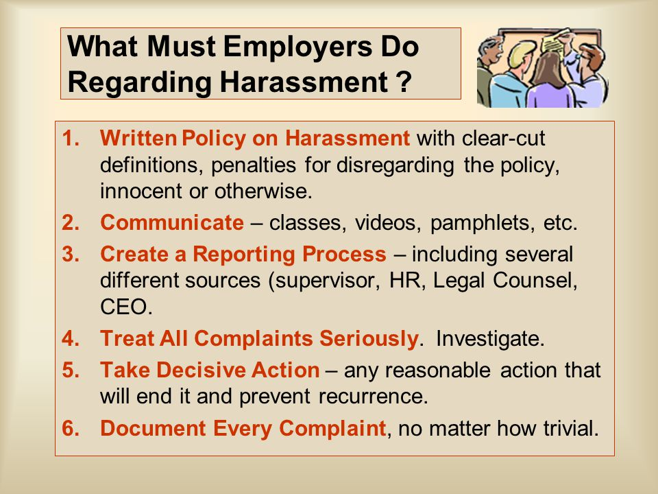 What Must Employers Do Regarding Harassment