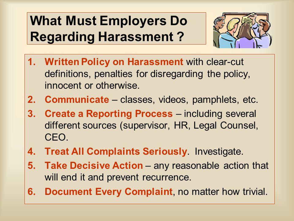 What Must Employers Do Regarding Harassment