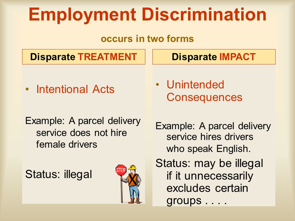 Employment Discrimination occurs in two forms
