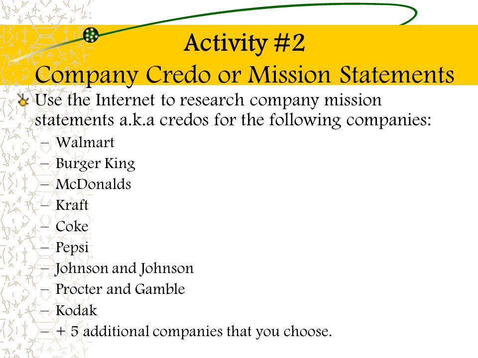 Activity #2 Company Credo or Mission Statements