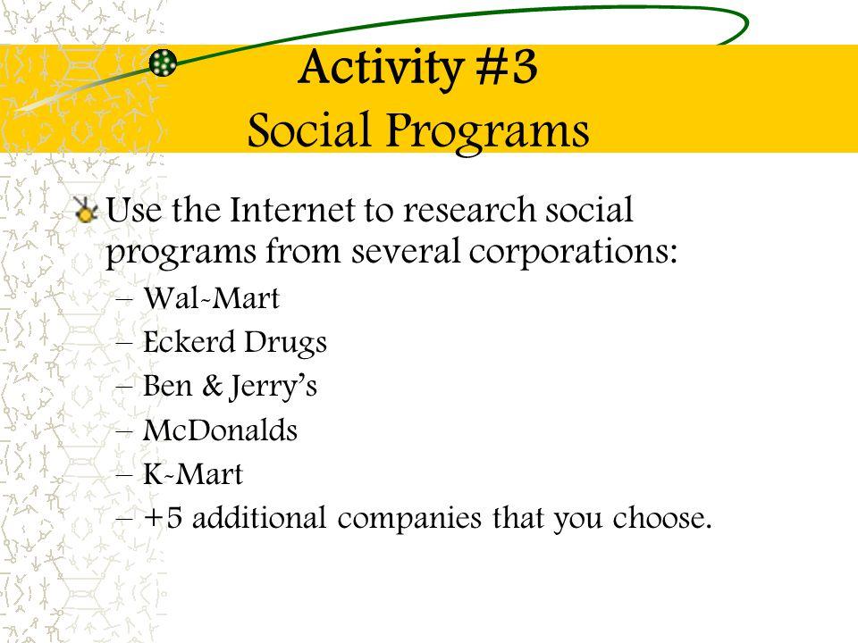 Activity #3 Social Programs