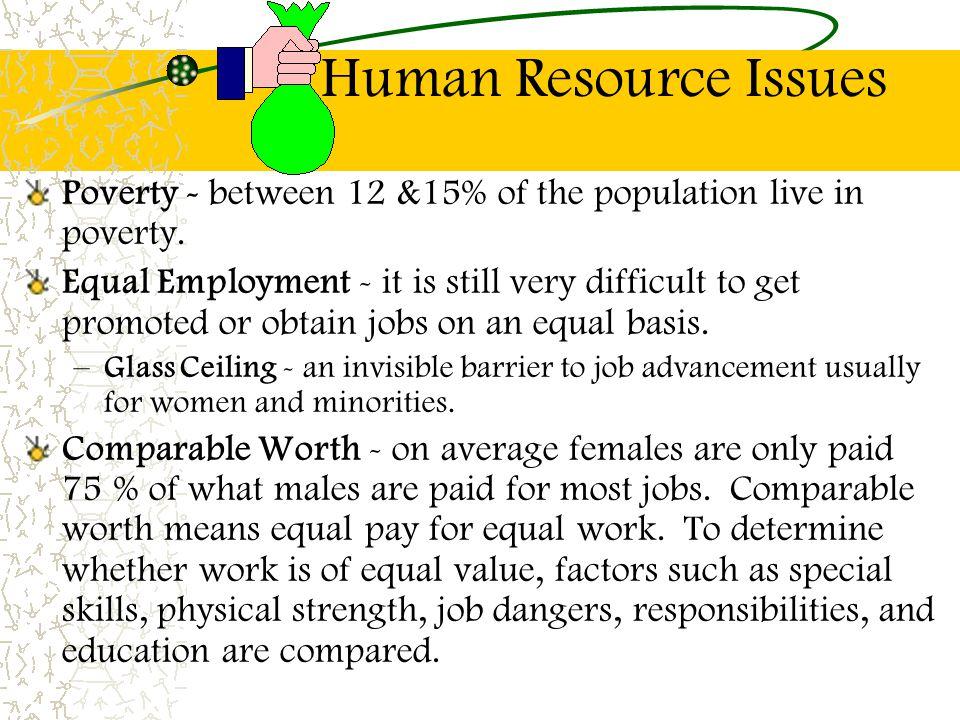 Human Resource Issues Poverty - between 12 &15% of the population live in poverty.