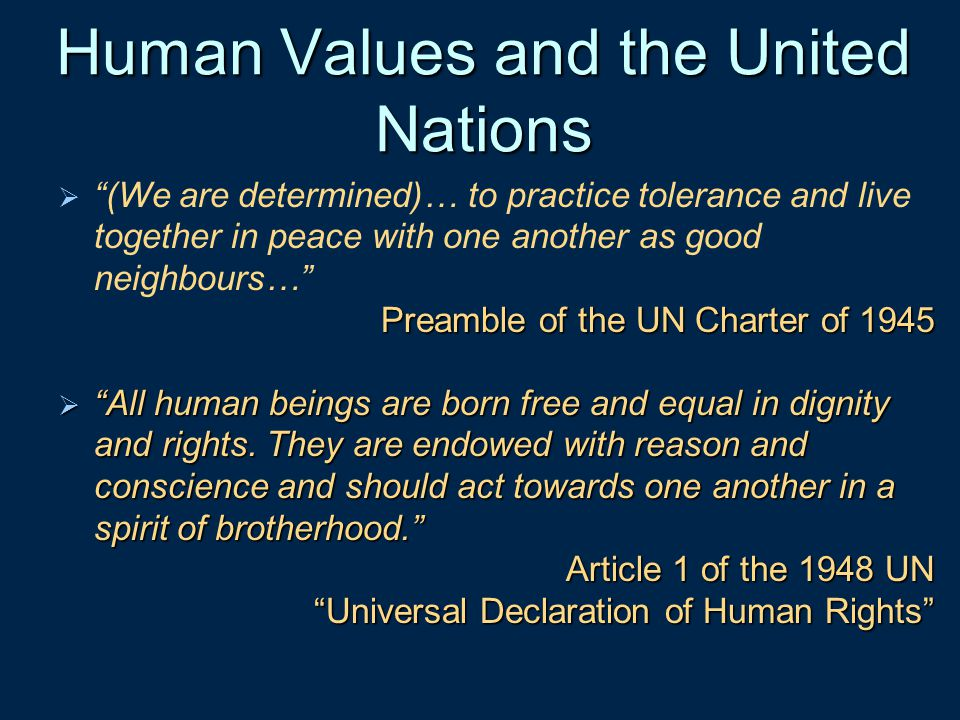 Human Values and the United Nations