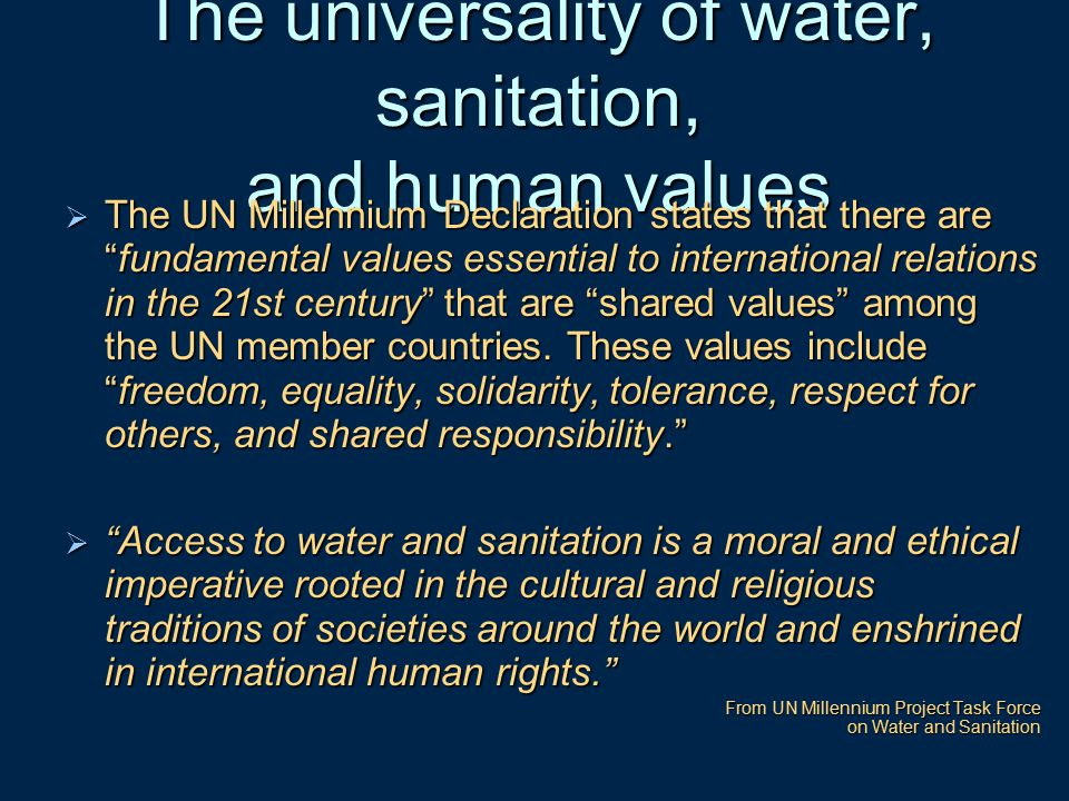 The universality of water, sanitation, and human values