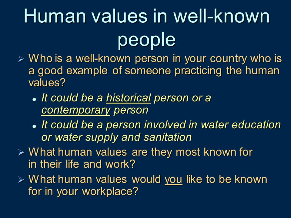 Human values in well-known people