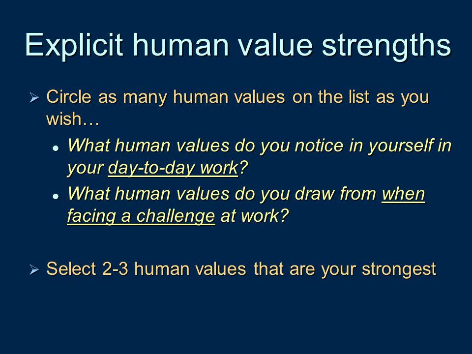 Explicit human value strengths
