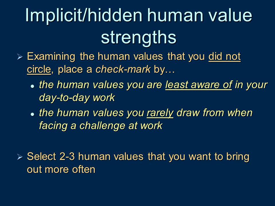 Implicit/hidden human value strengths