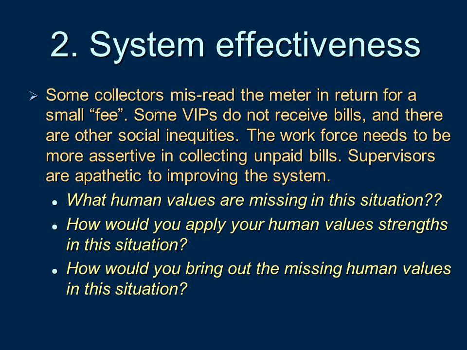 2. System effectiveness