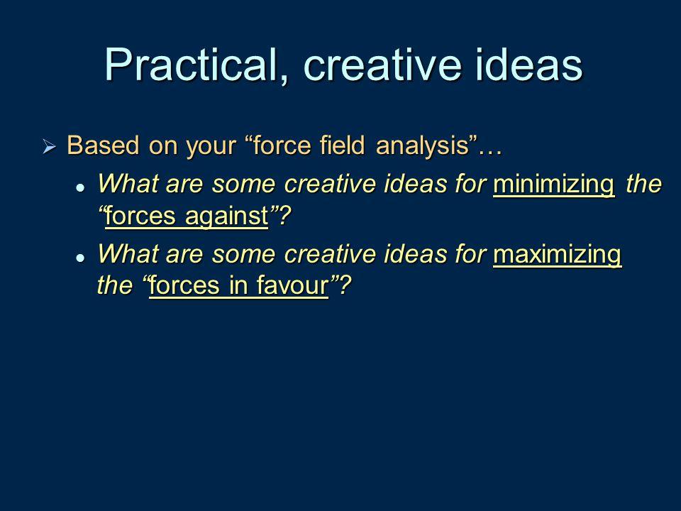 Practical, creative ideas