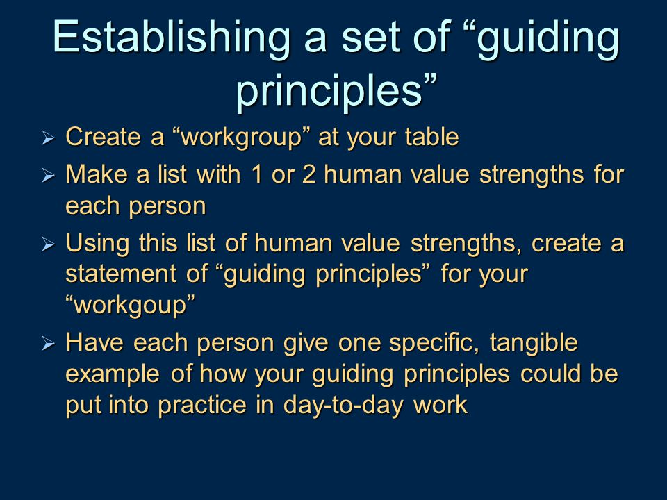 Establishing a set of guiding principles