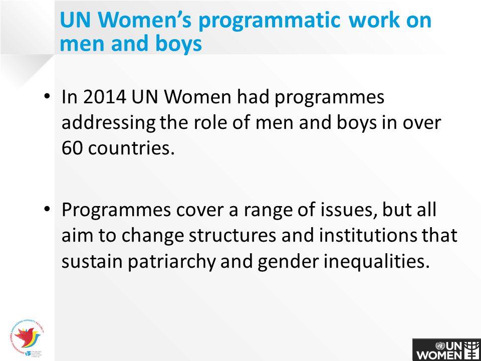 UN Women's programmatic work on men and boys