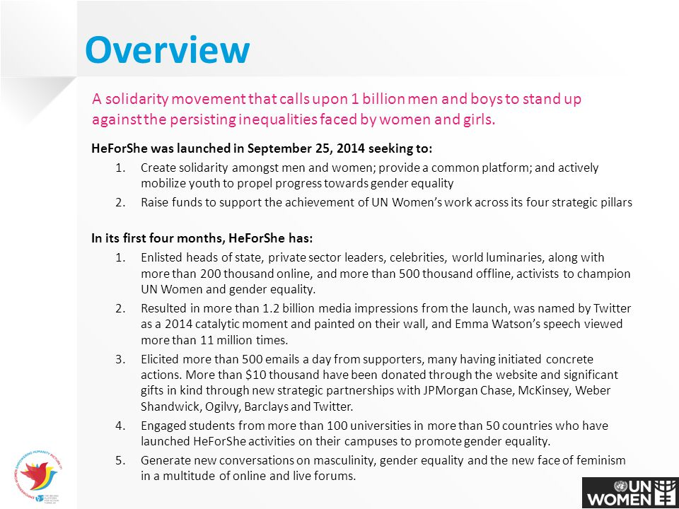 Gender Equality Solidarity Campaign. 9 Overview ...
