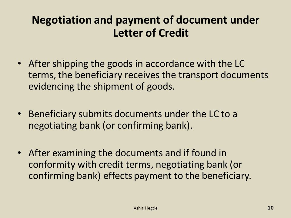 Negotiation and payment of document under Letter of Credit