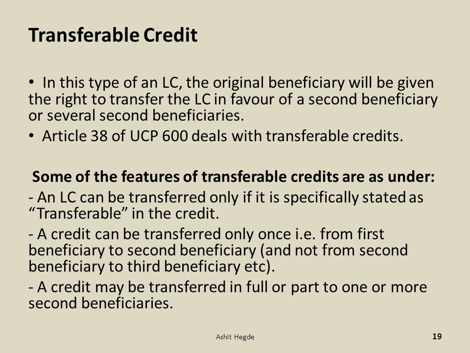Transferable Credit