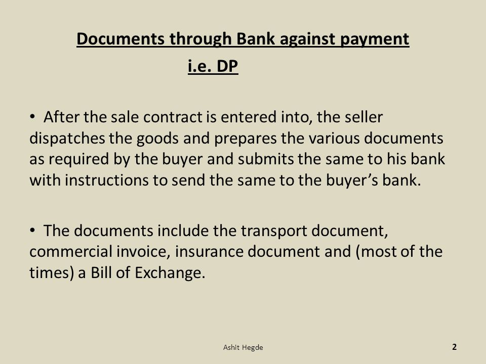 Documents through Bank against payment