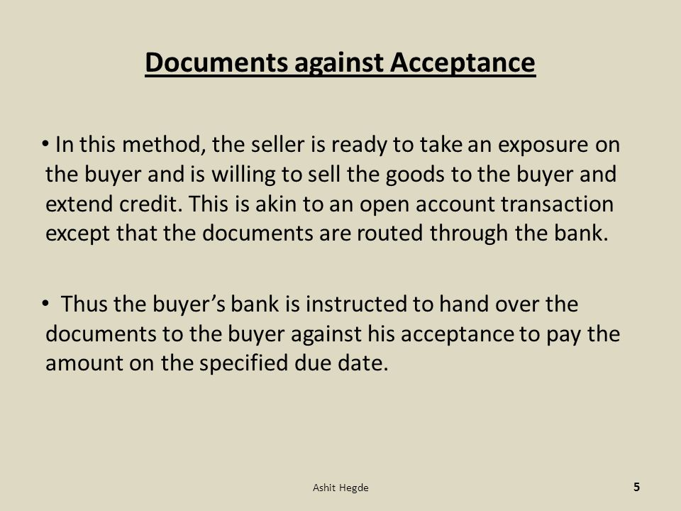 Documents against Acceptance