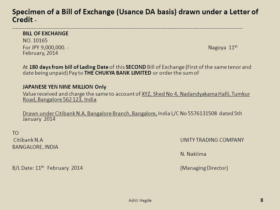 Specimen of a Bill of Exchange (Usance DA basis) drawn under a Letter of Credit -
