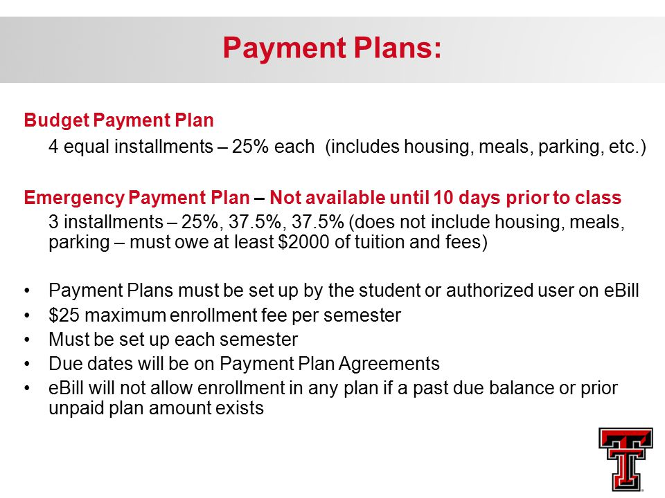 Payment Plans: Budget Payment Plan